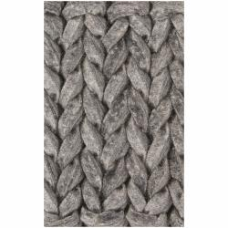 Hand-woven Braided Mandara Grey Wool Rug (5' x 7'6)
