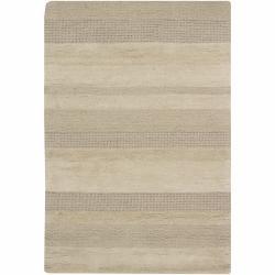 "Hand-Tufted Mandara Beige Wool Area Rug (5' x 7'6"")"