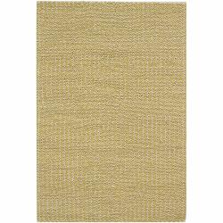 Handwoven Yellow/White Mandara New Zealand Wool Rug (5' x 7'6)