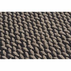 Handwoven Black/Taupe Mandara New Zealand Wool Rug (9' x 13')