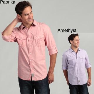 Calvin Klein Jeans Men's Crosshatch Woven Shirt