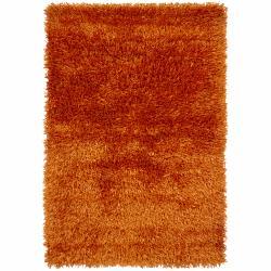 Hand-woven Mandara Orange Shag Rug (9' x 13')