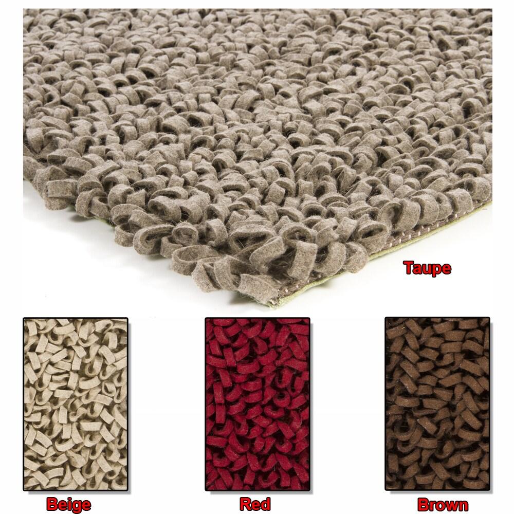 Artist's Loom Hand-woven Wool Shag Rug (5'x7'6)