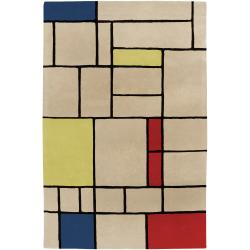 Hand-tufted Contemporary Geometric Farmyard I Abstract Rug (5'3 x 7'6)