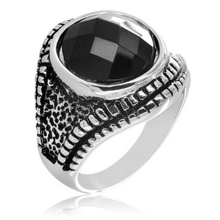 West Coast Jewelry Stainless Steel Textured and Black CZ Ring