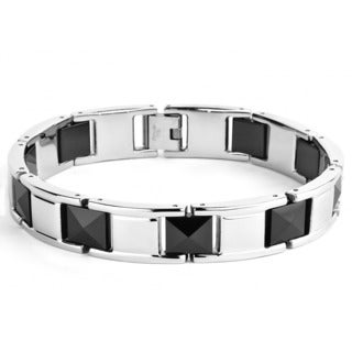 Stainless Steel and Black Faceted Ceramic Link Bracelet