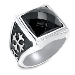 West Coast Jewelry Stainless Steel Royal Cross and Black CZ Ring