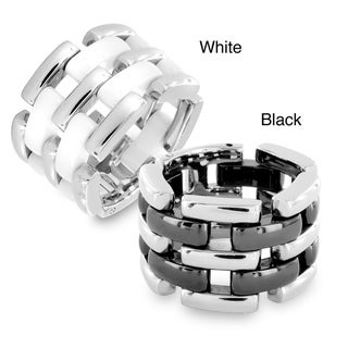 West Coast Jewelry Stainless Steel and Ceramic Linked Wide Ring