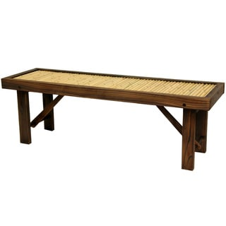 Handmade Japanese Bamboo Bench with Wood Frame