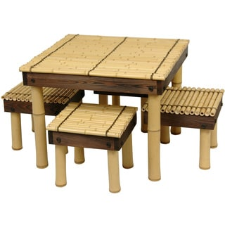 Zen Bamboo Coffee Table with Four Stools (China)