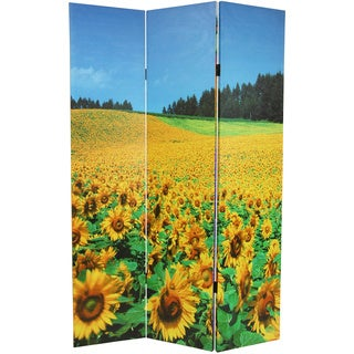 Canvas 6-foot Double Sided Floral Room Divider (China)