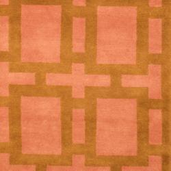 Indo Hand-knotted Tibetan Green/ Purple Wool Rug (3'7 x 5'6)