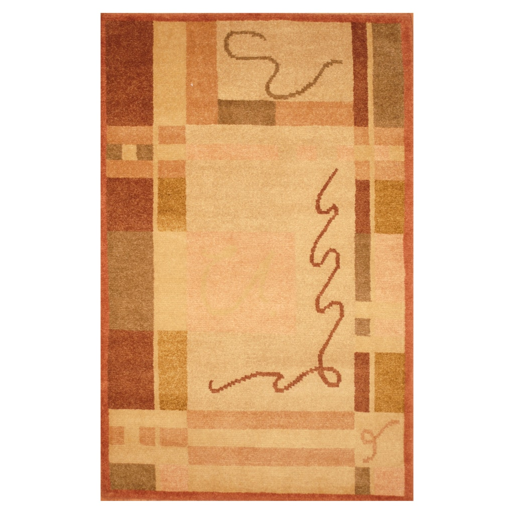 Indo Hand-knotted Tibetan Ivory/ Pink Wool Rug (3'7 x 5'6)