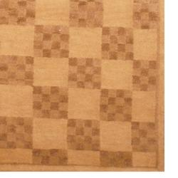 Indo Hand-knotted Tibetan Ivory/ Brown Wool Rug (3'7 x 5'6)