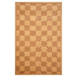 Herat Oriental Indo Hand-knotted Tibetan Ivory/ Brown Wool Rug (3'7 x 5'6)