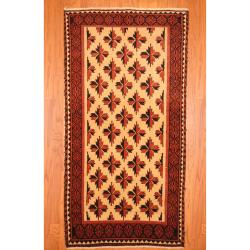 Persian Hand-knotted Balouchi Ivory/ Red Wool Rug (3'1 x 6'1)