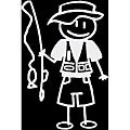 Vinyl Letter Decor 'Fisherman Dad' Stick Figure Car Decal