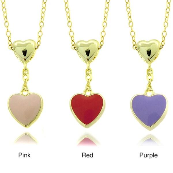 Molly and Emma 14k Gold Children's Enamel Heart Dangle Pendant
