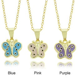 Molly and Emma 14k Gold Children's Enamel Butterfly Pendant