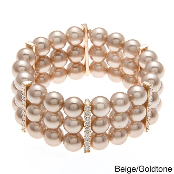 Roman Faux Pearl Crystal Stretch Bracelet