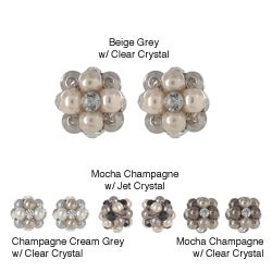 Roman Faux Pearl Crystal Beehive Button Earrings