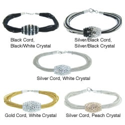 Sterling Silver and Silk Cord White Czech Crystal Bead Bracelet