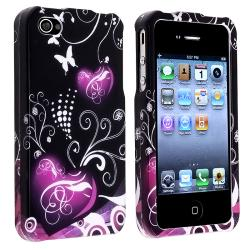 INSTEN Black/ Purple Heart Snap-on Phone Case Cover for Apple iPhone 4/ 4S