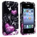 Black/ Purple Heart Snap-on Case for Apple iPhone 4/ 4S