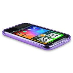 Frost Purple S Shape TPU Rubber Case for HTC Desire HD / Inspire 4G