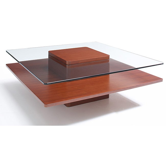 Jesper Office Square Glass Wood Coffee Table 14198095 Overstock