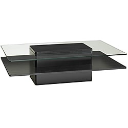 Glass and Dark Coffee Wood Coffee Table