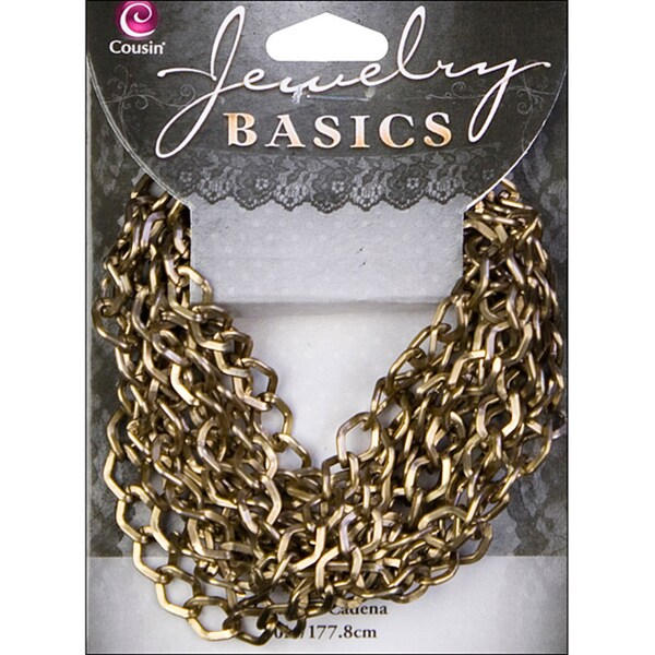 Jewelry Basics 70-inch Small Antique Goldtone Metal Dim Chain