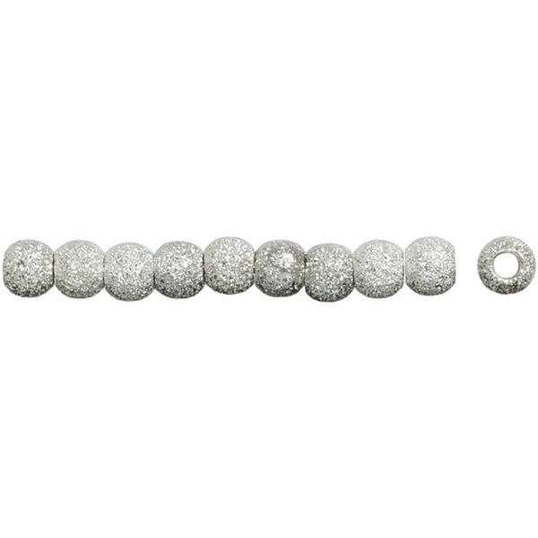 Silver-plated 6mm Stardust Round Beads (Pack of 20)