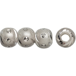 Silver-plated 6mm Carved Beads (Pack of 8)