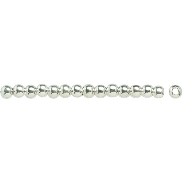 Silver-plated Metal Findings 3mm Round Beads (Pack of 35)