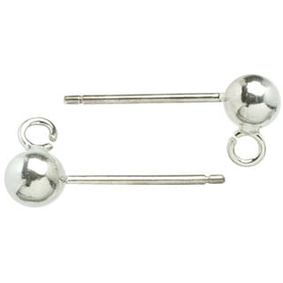 Metal Findings Silver-plated 4mm Ear Post Balls (Pack of 6)
