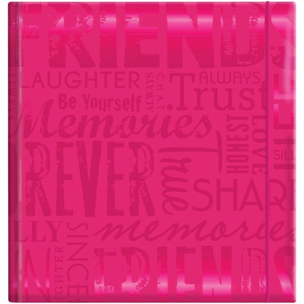Embossed Gloss 'Friends' Expressions Hot Pink Photo Album (Hold 200 photos)