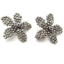 Metallic Silver Crystal Floral Radiance Clip-On Earrings (Thailand)