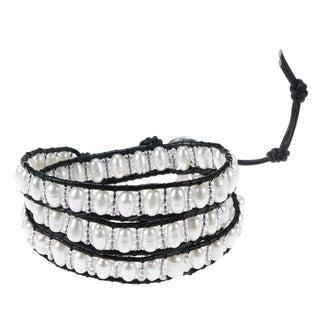 Pure Romance Freshwater White Pearl 3-Wrap Leather Bracelet (Thailand)