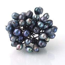 Sweet Dandelion Freshwater Black Pearl Floral Blast Ring (Thailand)