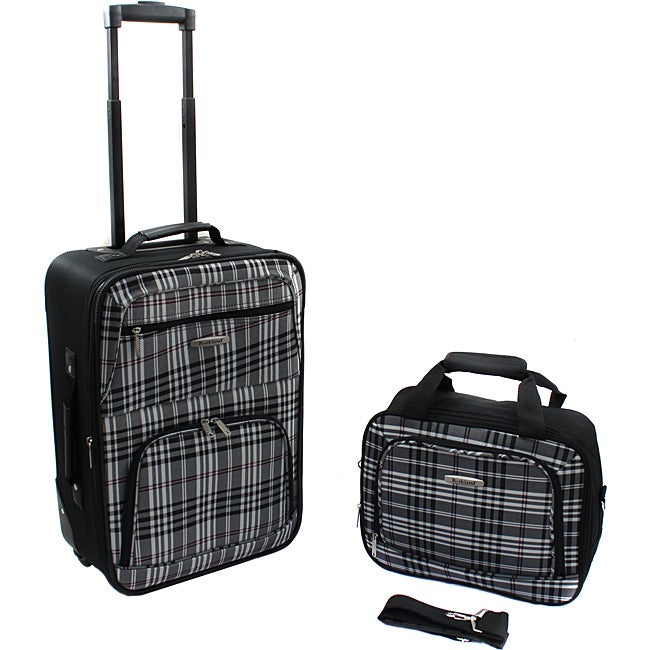 Rockland Black Cross 2-Piece Lightweight Carry-On Luggage Set