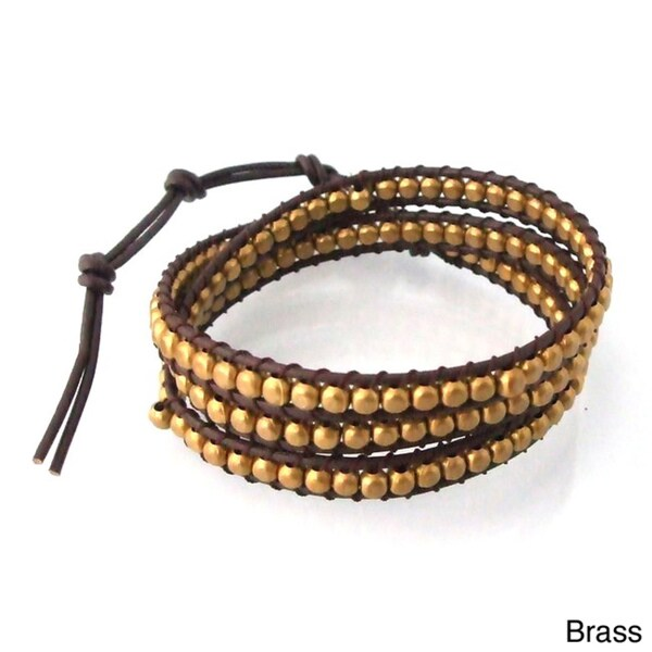 Silver/ Brass Shine Beads Leather Triple Wrap Bracelet (Thailand)
