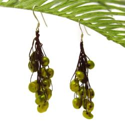 Cluster Dreams Freshwater Dyed Green Pearl Handmade Earrings (Thailand)