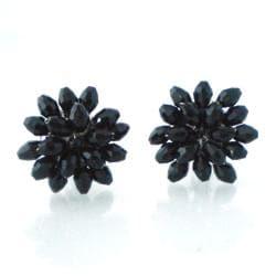 Dazzling Black Chrysanthemum Crystal Clip On Earrings (Thailand)