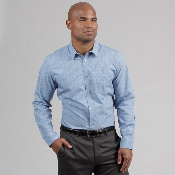 Calvin Klein Men's Placid Blue Plaid Woven Shirt
