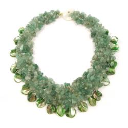 Green Aventurine and Seashells Cluster Stone Toggle Necklace (Philippines)