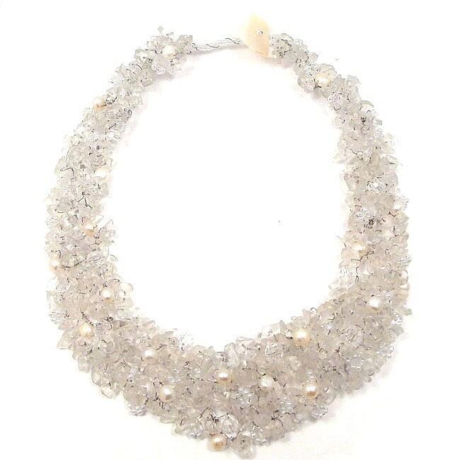 Clear Cascades Quartz-Pearl-Crystal Medley Trio Bib Necklace (Philippines)