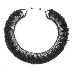 Black Treasures Silver Crystal-Coral Dramatic Necklace (Thailand)