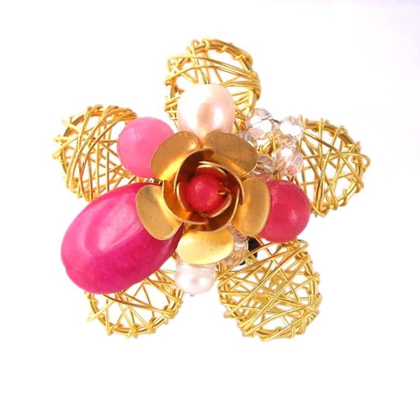 Brass Wire Works Blossoming Rose Pink Quartz Stone Free Size Ring (Thailand)