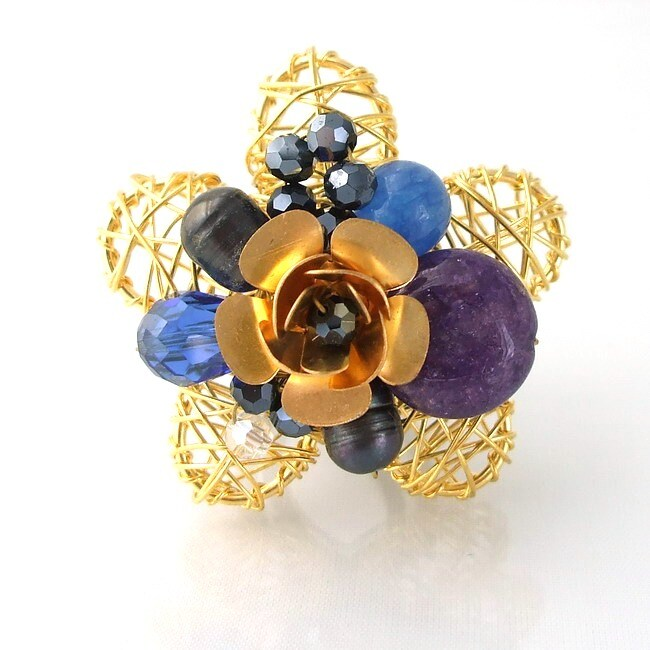 Brass Wire Works Blossoming Rose Blue Chalcedony Stone Free Size Ring (Thailand)
